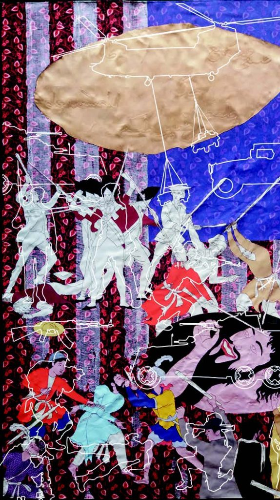 This image has an empty alt attribute; its file name is Artist-Khadim-Ali's-commission-in-progress-for-the-Sharjah-Biennial-574x1024.jpg